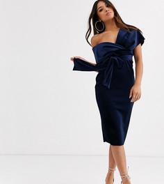 Бархатное платье-футляр миди с завязкой ASOS DESIGN Petite-Темно-синий