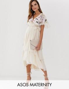 Платье миди с кейпом, вышивкой и асимметричным подолом ASOS DESIGN Maternity-Розовый