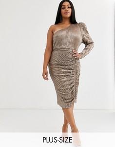 Платье миди на одно плечо с пайетками Lavish Alice Plus-Золотой