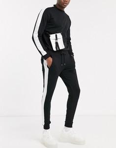 Черный спортивный костюм со свитшотом и джоггерами ASOS DESIGN