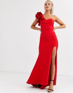 Красное платье макси на одно плечо с оборками Jarlo-Красный