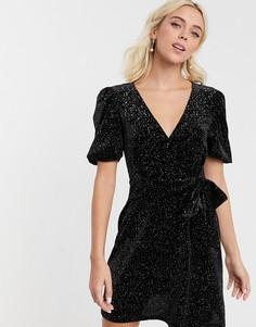 Бархатное чайное платье мини с блестками ASOS DESIGN-Черный