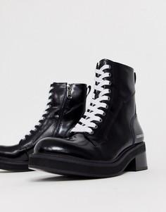Черные кожаные ботильоны на массивной подошве и со шнуровкой Calvin Klein Ebba-Черный