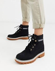 Черные замшевые ботинки на шнуровке с замшевой фактурой CAT-Черный