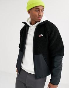 Черная зимняя флисовая куртка на молнии Nike-Черный