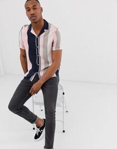Рубашка в розовую и темно-синюю полоску с отложным воротником Burton Menswear-Розовый
