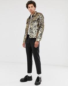 Куртка в ковбойском стиле с золотистыми пайетками ASOS DESIGN-Золотой