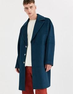 Пальто из ткани с добавлением шерсти ASOS WHITE-Синий