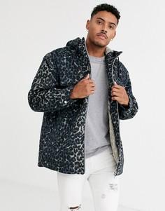 Куртка с леопардовым принтом и меховой подкладкой ASOS DESIGN-Синий