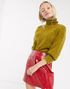 Мини-юбка из искусственной кожи с крокодиловым эффектом ASOS DESIGN-Красный