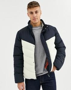 Дутая куртка в стиле колор блок Native Youth-Темно-синий