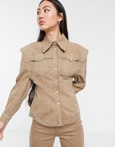 Джинсовая рубашка ASOS WHITE-Коричневый