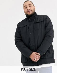 Черная куртка в стиле милитари с капюшоном Duke king size-Черный