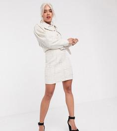 Мини-юбка из ткани букле ASOS DESIGN Petite-Белый