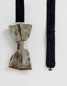 Фактурный бархатный галстук-бабочка кремового цвета Twisted Tailor-Кремовый