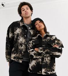 Джинсовая oversize-куртка с принтом тай-дай в стиле унисекс COLLUSION-Мульти