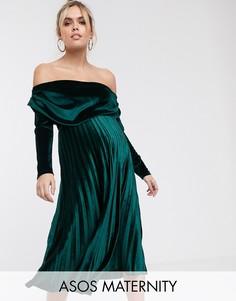 Бархатное платье миди с длинными рукавами и открытыми плечами ASOS DESIGN Maternity-Зеленый