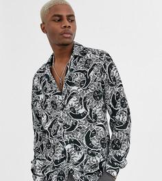 Рубашка с длинными рукавами и принтом Reclaimed Vintage-Черный