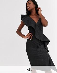 Платье-футляр мини с оборкой и эффектом металлик Little Mistress Tall-Серый
