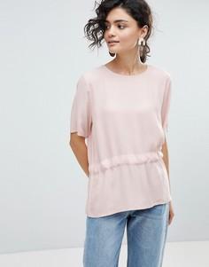 Блузка с асимметричным краем Selected Femme-Розовый