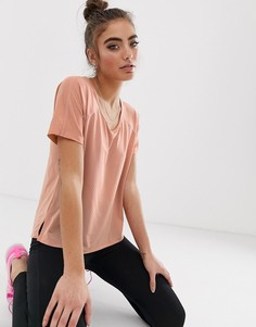Футболка цвета розового золота с вырезом на спине Nike Running-Оранжевый