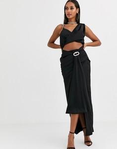 Черная атласная драпированная юбка макси от комплекта Missguided-Черный