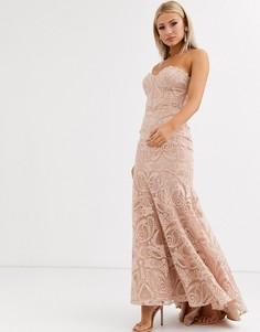 Жемчужно-розовое платье макси с кружевом, вышивкой и юбкой годе Jarlo-Розовый