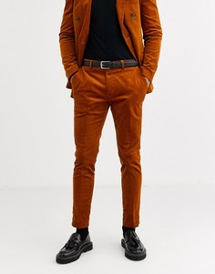 Коричневые облегающие вельветовые брюки Topman-Коричневый