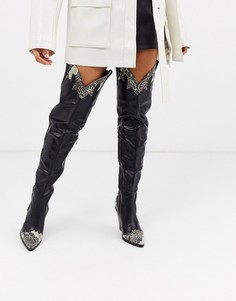 Черные высокие сапоги в стиле вестерн со змеиным рисунком Missguided-Черный