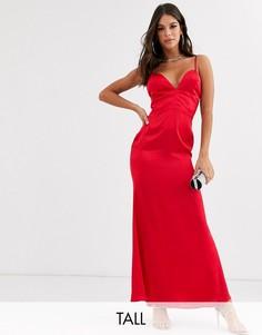 Красное атласное платье макси Missguided Tall-Красный