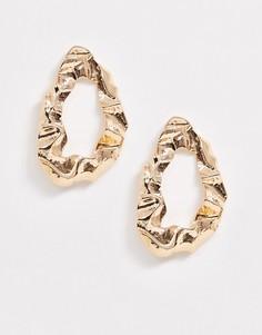 Золотистые серьги с оригинальным дизайном Weekday-Золотой