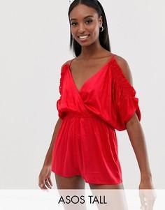 Пляжный ромпер с открытыми плечами и рукавами клеш ASOS DESIGN Tall-Красный
