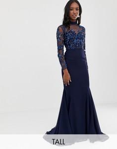 Темно-синее полупрозрачное платье макси с длинными рукавами и отделкой Virgos Lounge Tall-Темно-синий