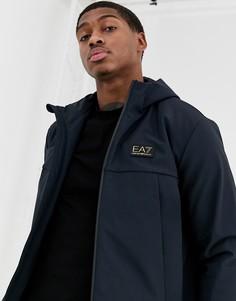 Темно-синяя куртка с капюшоном и логотипом Armani EA7-Темно-синий