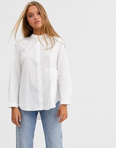 Белая oversize-рубашка без воротника с карманом Selected Femme-Белый