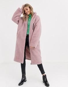 Розовое флисовое пальто ASOS DESIGN-Мульти