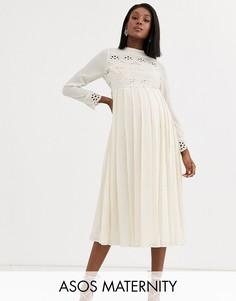Плиссированное платье миди с высоким воротом и кружевными вставками ASOS DESIGN Maternity-Кремовый