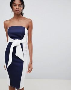 Платье миди в стиле колор блок с вырезом бандо ASOS DESIGN-Темно-синий