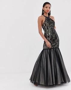 Платье макси с отделкой и годе Jovani-Черный