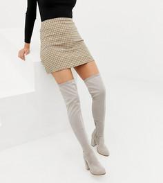 Ботфорты для широкой стопы на каблуке ASOS DESIGN-Серый