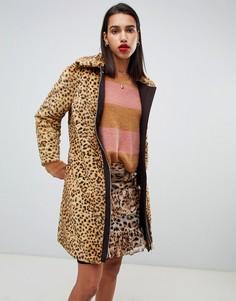 Шуба из искусственного меха с леопардовым принтом Max & Co-Мульти