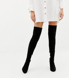 Ботфорты для широкой стопы на каблуке ASOS DESIGN-Черный