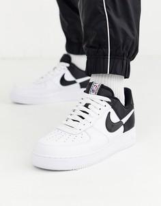 Черно-белые кроссовки Nike Air Force 1 07 BQ4420-100-Белый