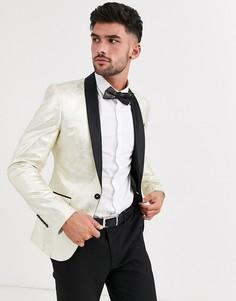 Золотистый пиджак-смокинг приталенного кроя Avail London-Золотой