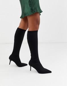 Черные сапоги на каблуке-рюмочке ASOS DESIGN-Черный