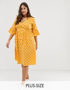 Платье миди в горошек на пуговицах Influence Plus-Желтый