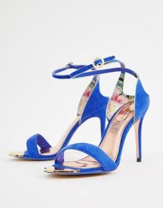 Легкие замшевые босоножки на каблуке Ted Baker-Синий