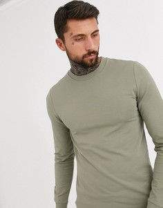 Обтягивающий длинный свитшот цвета хаки ASOS DESIGN-Зеленый