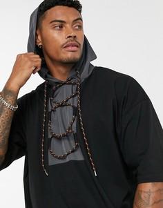 Черная oversize-футболка с капюшоном и рукавами до локтя ASOS DESIGN-Черный