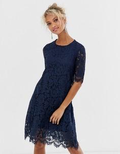 Платье миди с кружевным верхним слоем Glamorous-Темно-синий